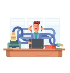 Man office worker multitasking vector