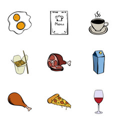 Menu icons set cartoon style vector