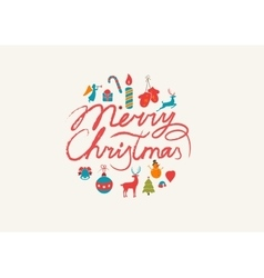 Merry Christmas lettering typography Text design vector