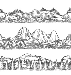 Mountains and forest hand drawn landscapes vector