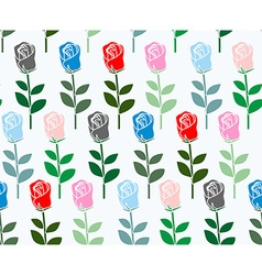 Multicolored roses seamless pattern flower vector image