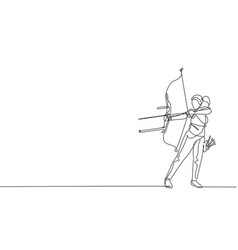 one continuous line drawing young archer woman vector image