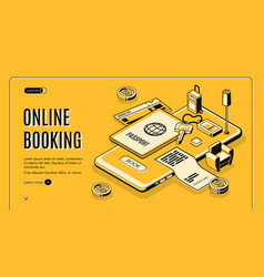 online booking service isometric website vector image