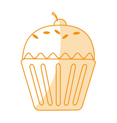 Orange silhouette shading cartoon cupcake with vector