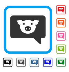 Pig message framed icon vector