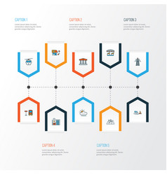 Public skyline icons colored line set with smart vector
