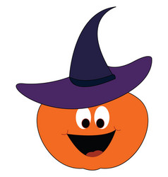 pumpkin wearing a hat on white background vector image