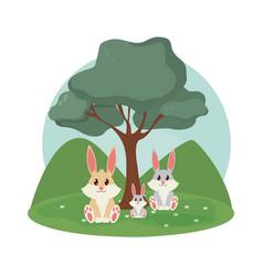 Rabbits family cute animals cartoons vector