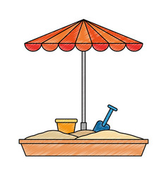 Sand game park with umbrella vector