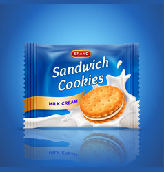 Sandwich cookies or cracker package design easy vector