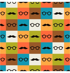 seamless background of glasses and mustache vector image