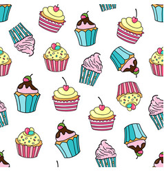 seamless pattern with cupcakes on a white vector image