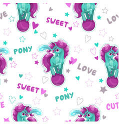 Seamless pattern with cute cartoon horse vector