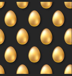 seamless pattern with volumetric golden eggs on vector image