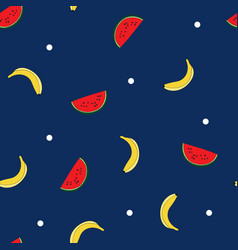 Seamless repeat pattern with tossed watermelon and vector