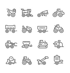 set line icons of agricultural machinery vector image