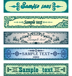Set of antique blue banners vector image