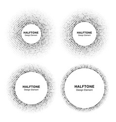 Set of halftone circle frames with random dots vector