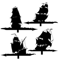 Set of silhouettes of sailing ships weather vanes vector