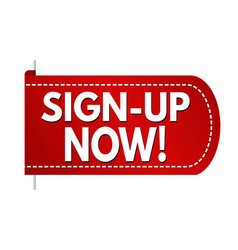 sign-up now banner design vector image