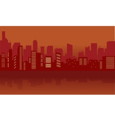 Silhouette of city with red color vector