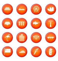 Singapore icons set vector