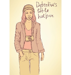Sketch detectives helper in Mafia board game vector image