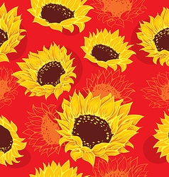 Sketch of stylized sunflowers vector