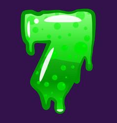 slime font type number 7 latin alphabet green vector image