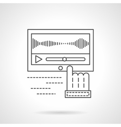 Sound record processing flat line icon vector