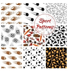 Sport balls items seamless patterns set vector image