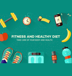Sports and healthy lifestyle banner with top view vector