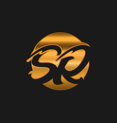 Sr logotype company letter design sr monogram vector