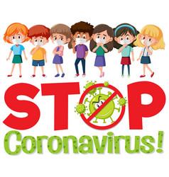 stop coronavirus logo with group teenager vector image