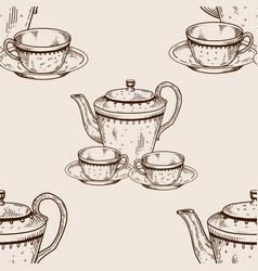 tea set utensil seamless pattern engraving vector image