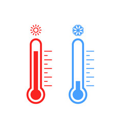 thermometer cold and hot icon freeze temperature vector image
