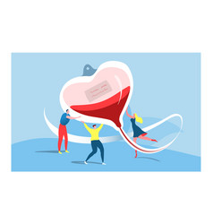 Tiny group character male female carry heart vector