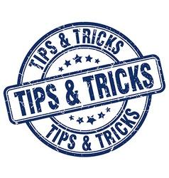 Tips tricks blue grunge round vintage rubber vector