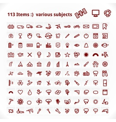Various Subjects Icons vector image