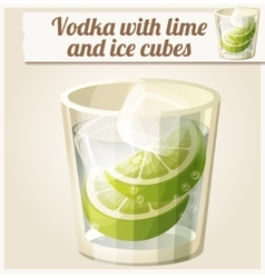 Vodka with lime and ice cubes Detailed vector image