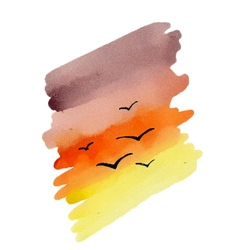Water Color Sunset vector