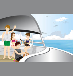 Young people riding a motor boat vector