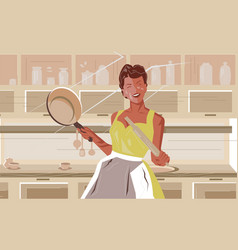 young woman in apron standing in kitchen vector image