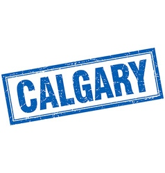 Calgary blue square grunge stamp on white vector