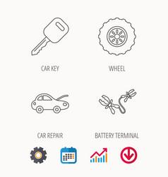 Car key wheel and repair service icons vector