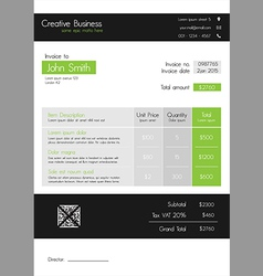 Invoice template - clean modern style of green and vector image vector image