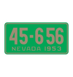 Nevada 1953 license plate vector image vector image