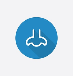 nose Flat Blue Simple Icon with long shadow vector image