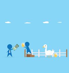 Businessman trading money and golden egg vector