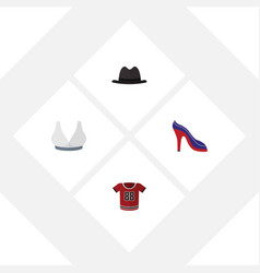 Flat clothes set of heeled shoe panama brasserie vector